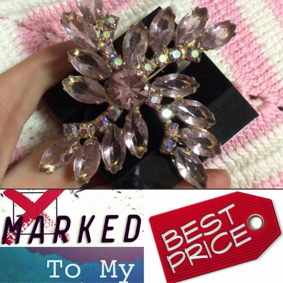 Vintage Jewelry - 50s Pink It's A Girl Rhinestone Pin